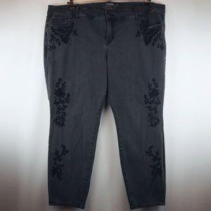 Torrid Premium Jeans Black Embroidery Skinny SHORT